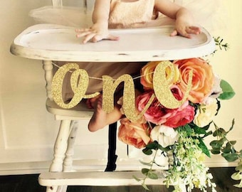 ONE Gold Glitter High Chair Banner Sign | Custom Banner, Personalized Name Banner | 1st Birthday Party, Cake Smash, Premium Double-Backing