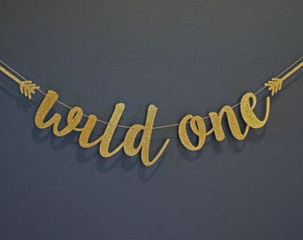WILD ONE with Tribal Arrows Gold Glitter Banner Sign | Custom Personalized Name Banner | 1st Birthday Party, Cake Smash, Premium Backing