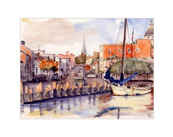 """8.5x11 Limited Edition Print of """"Annapolis Harbor"""""""