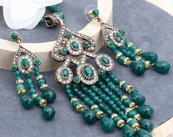 Turkish Gold Plated Earring /& Long Strand Necklace With Natural Stones