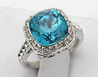 Austrian Crystal Created Sapphire White Gold plated ring