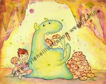 Watercolor reproduction shows eating cookies