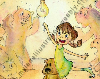 Watercolor reproduction, click! It is clear!