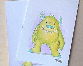 Original watercolor, friendly monster, 5 x 7