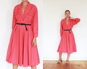 80s Italian Pink Coat Dress / M