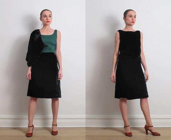 60s Green Velvet Two Piece Dress / XS