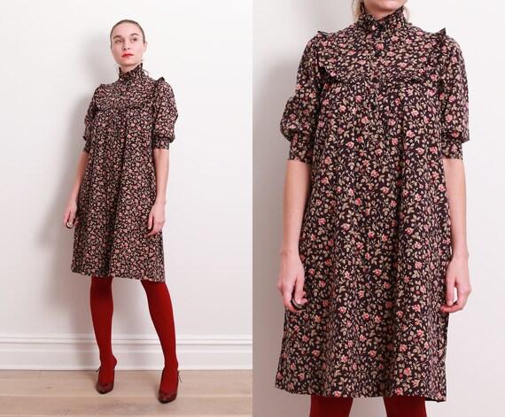 90s Calico Ruffle Dress / S