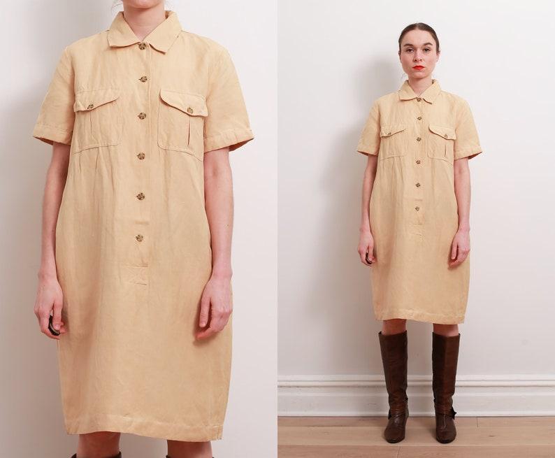 826e6a64aff 90s Yellow Sand Safari Shirt Dress   M