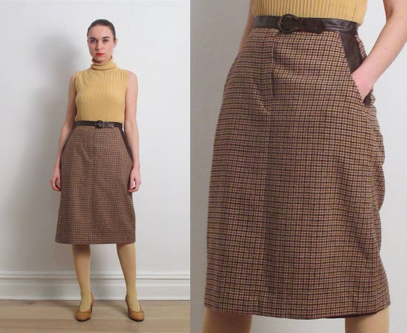 50s Brown Houndstooth Belted Pencil Skirt / S-M