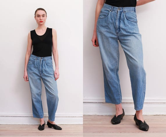 80s Pleated Front Jeans / M