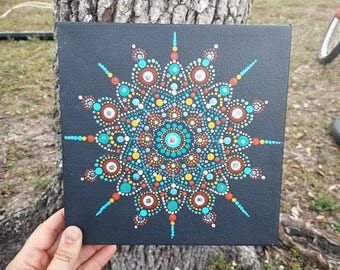 Original Hand Painted Mandala Dot Art, Original on Stretched Canvas, blues, brown, yellow Wall Art Painting