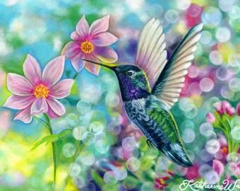 Hummingbird Bokeh Fantasy Print