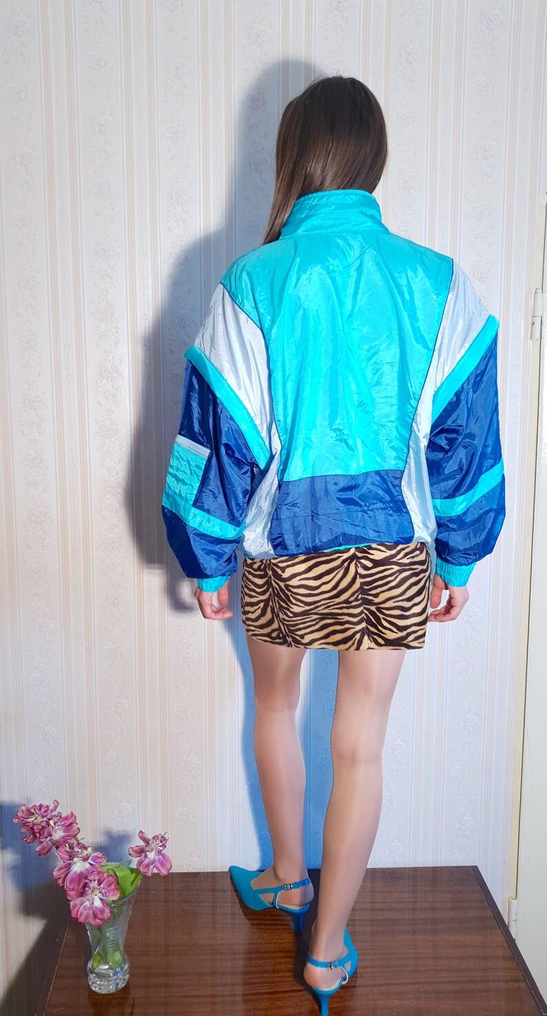 size L 80s women/'s sportswear estimated M  L 90s blue zipped bomber jacket Vintage DETACHABLE sleeves track suit jacket windbreaker