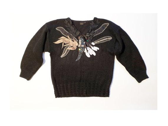 Vtg 70s 80s novelty palm knit cotton blend sweater SM