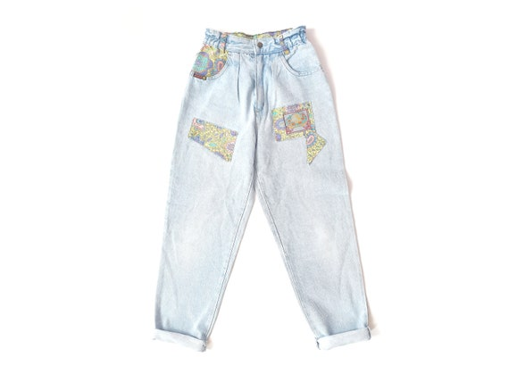 Vintage 90s mom jeans light baby blue patchwork pa