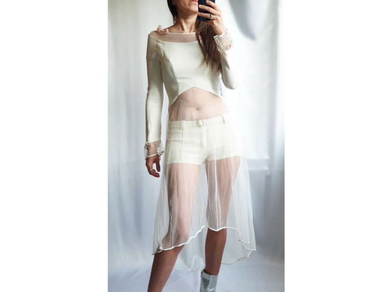 MADE in ITALY vintage gown white wedding dress sheer transparent festival bridal 90s bridesmaid rustic  long sleeve top blouse size S