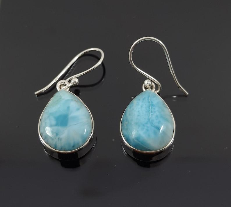 Larimar Semi Precious Stone Earring Larimar Earrings Teardrop Earring Larimar ETSY Boho Earrings 925 Sterling Solid Silver Earring