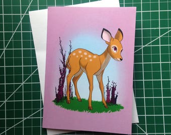 Spring Greeting Card Blank Deer Fawn February Greeting Cards