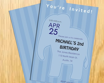 Baby Elephant Birthday Invitation, Blue Birthday Card, Elephant Party - Digital File