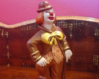 1950/'s Vintage M K Hand Painted Ceramic Happy Clown with Ball Figurine c