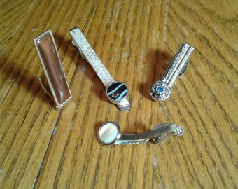 491d178ec699 Vintage STONE TIE CLIPS Tie Clip Lot 6