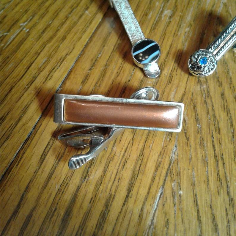 Vintage STONE TIE CLIPS Tie Clip Lot 6
