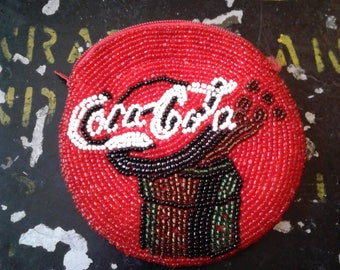 Vintage COCA-COLA Coin PURSE,Handmade Beaded Change Pouch.Coca-cola Memorabilia,fashion Accessories,purses and handbags,women's accessories