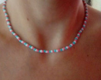 Cute Summer Candy Glass Seed Bead Necklace