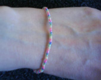 Cute Candy Rainbow Glass Seed Bead Stretch Bracelet Summer Beach Holiday
