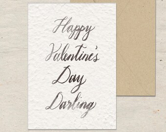 Darling Valentine, Valentine's Day, Handmade Paper, Cotton, Blank Flat Greeting Card, Galentine, Love, Chrizels Artistry, Calligraphy