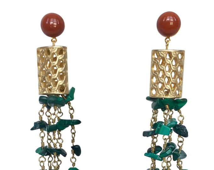 Long earrings Cannelé with malachite and red jasper gemstones