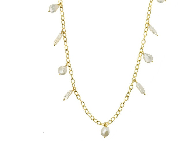 Audrey white pearls gold necklace