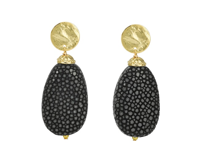 Black and gold stingray Garance earrings