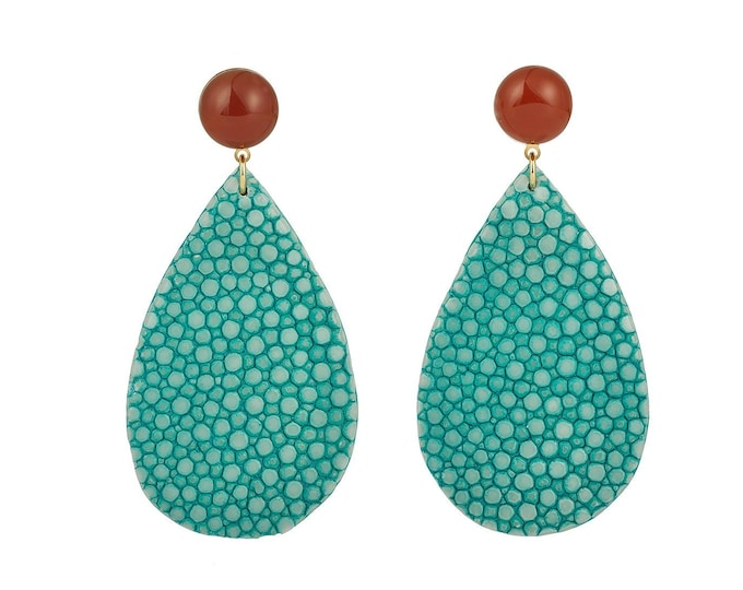 Turquoise stingray leather Acqua earrings and carnelian stone