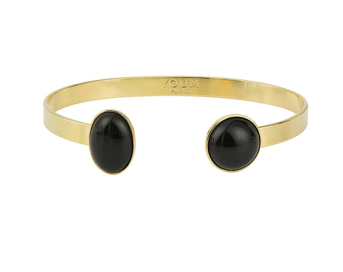 24 karats gilded gold bracelet and black agate gemstone