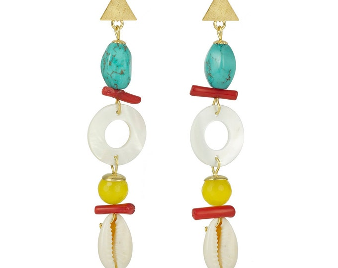 Summer earrings, cowrie shell and gemstones