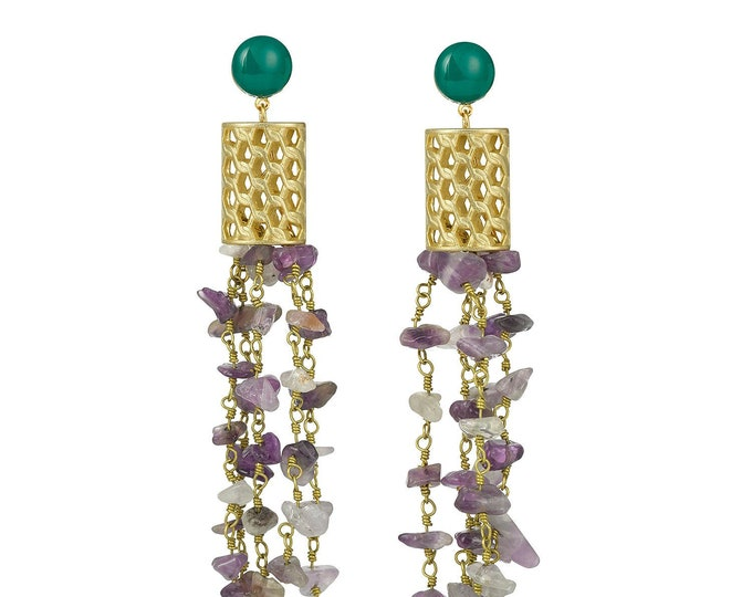 Long earrings Cannelé, amethyst and green agate gemstones