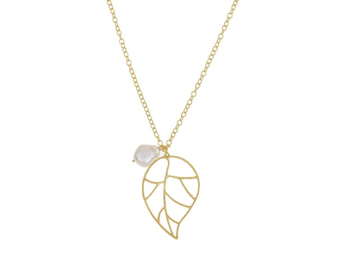Florence leaf necklace with white pearl