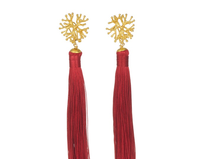 Red tassel earrings Lana