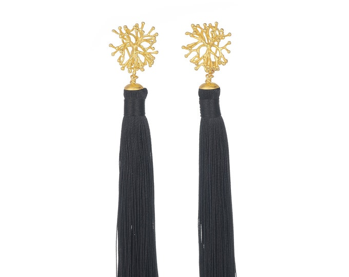 Black tassel Lana earrings