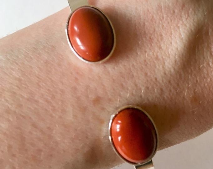 Silver brass bracelet and red jasper gemstones