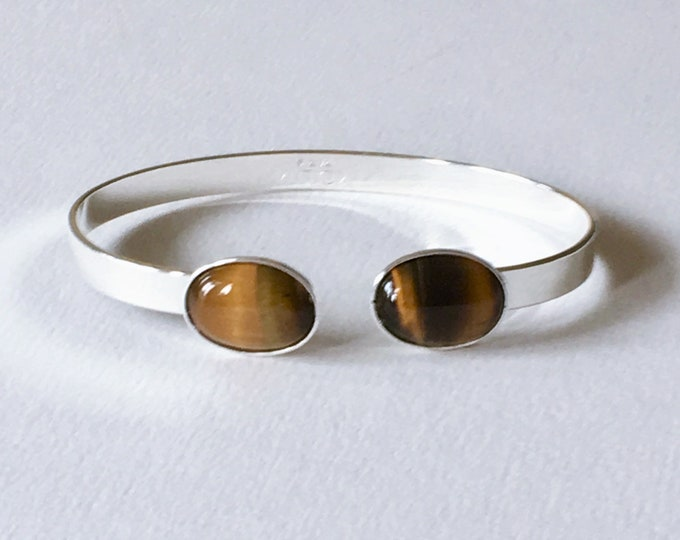 Silver cuff bracelet and tiger eye natural gemstones