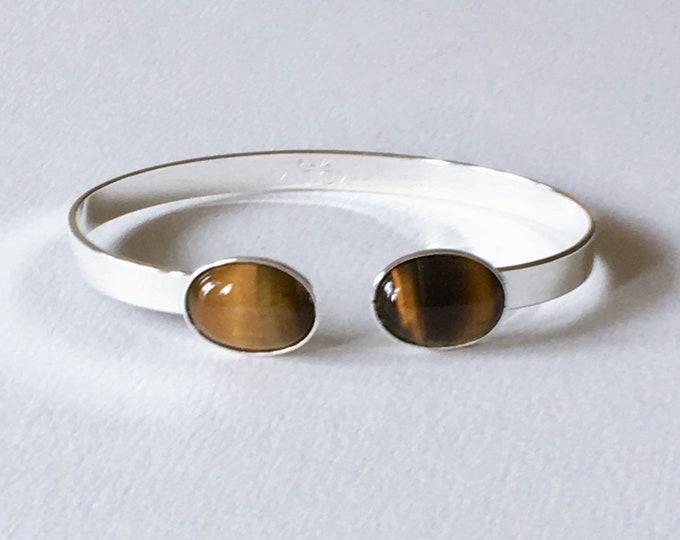 Silver cuff bracelet and tiger eye semi precious gemstones