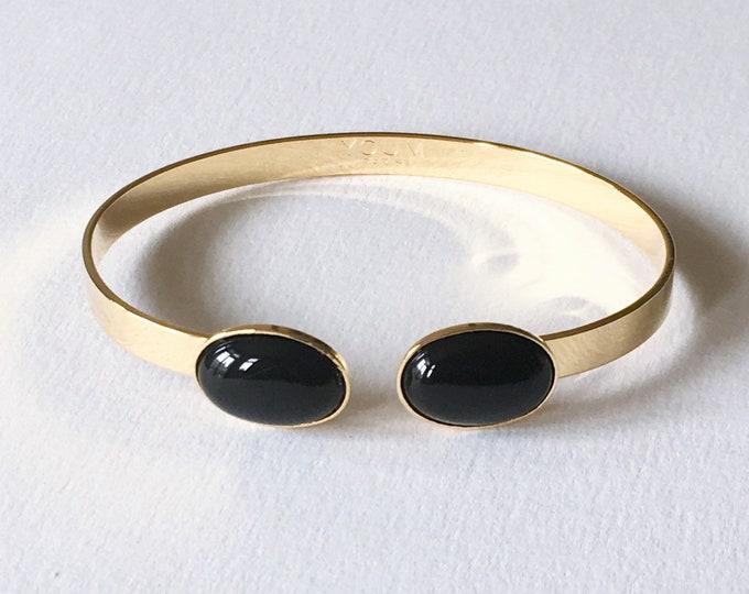 24 karat gilded gold bracelet and black agate gemstone