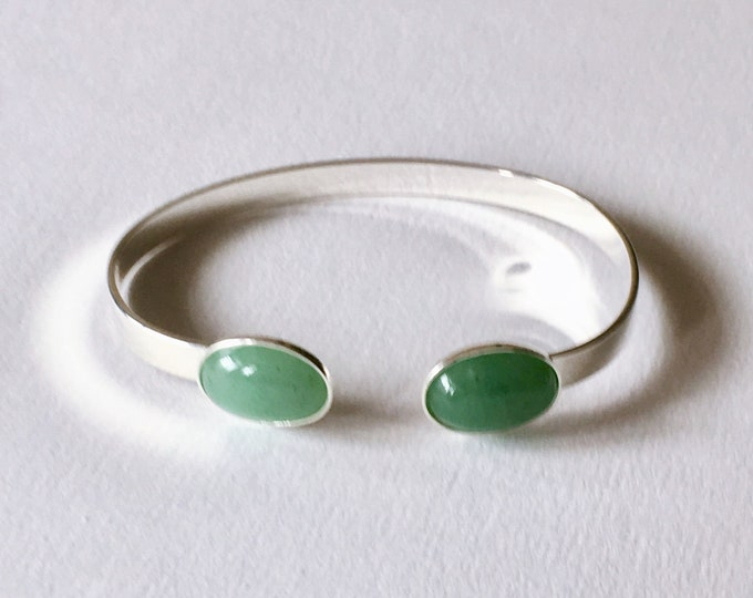 Silver bangle bracelet and Aventurine gemstone