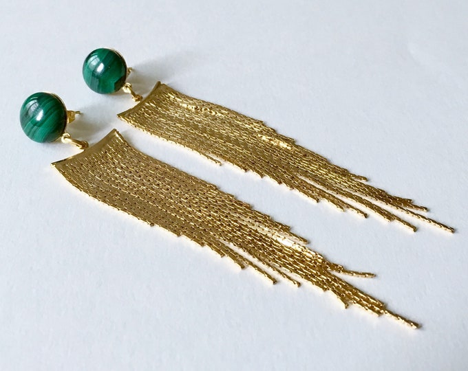 Gemstones drops, Chute Golden drops earrings and malachite gemstone, Gold plated pendant