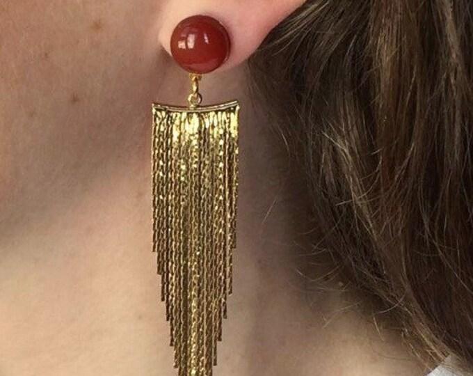 Drop earrings, Chute Golden drops and carnelian gemstones, Gold plated pendant