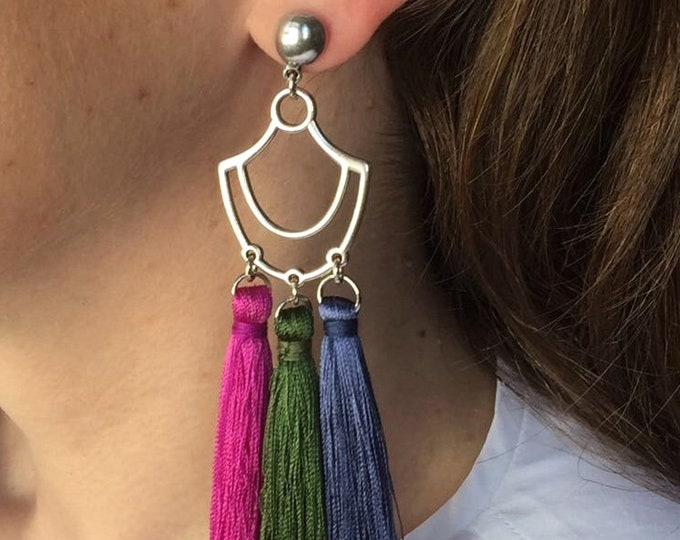 Tassel earrings, Silver tassel drop earrings with pink, green and bleu tassels