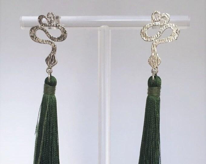 Snake and tassel earrings