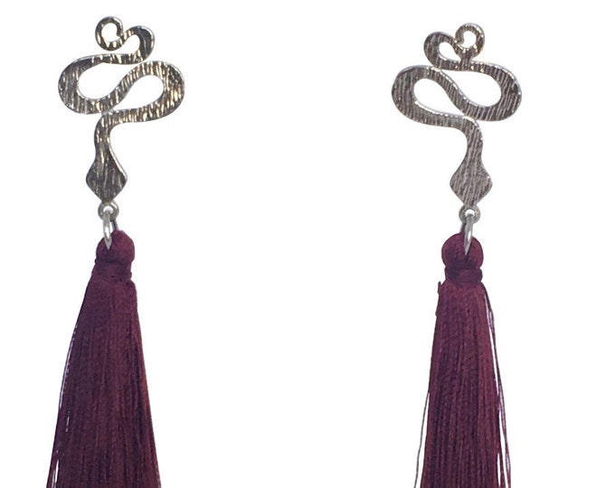 Snake and tassel earrings